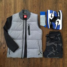 Outfit grid - Body warmer & camo