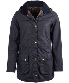 Complete a classic Barbour look with the women's Barbour Herterton Wax Jacket, crafted from 100% waxed cotton outer to help complete the classic look. This beautifully crafted longline waxed jacket features a drawcord waist for added style and a flattering fit. For an added touch of Barbour style this stylish jacket has been finished this the Barbour Classic tartan lining. The detachable hood offers you added convenience, ideal for tackling the ever changing weather. This classic design has…