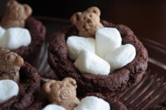 Recipe; Bears in a Bubble Bath Cookies; chocolate cake mix, butter, egg, Rolo chocolates, minature marshmallows, Teddy grahams ~~