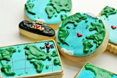 These are awesome!!   Maps and Globes Decorated Sugar Cookie Set - Travel Theme Wedding Favors via Etsy