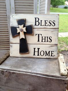 Shabby Chic Bless This Home Pallet Sign by SassySouthernCharm