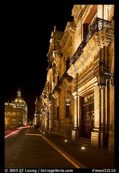 Palacio del Gobernio (government palace) at night. Guadalajara, Jalisco, Mexico (color)