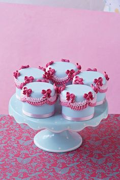 Blue, Pink Swag Mini Cakes