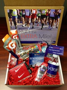 """A gift for runners   a DIY creative box full of running goodies! Encourage them to """"Run the EXTRA mile""""  We did this as an ELFCU Giveaway."""