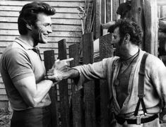 "Clint Eastwood and Eli Wallach fooling around on the set of ""The Good the Bad and the Ugly"" 1966 Clint Eastwood, Eastwood Movies, Hollywood Icons, Classic Hollywood, Old Hollywood, Epic Rap Battles, Lee Van Cleef, Sergio Leone, Channel"