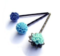 Turquoise Hair pins Blue Hair Pins resin rose Set of by JPwithLove, $15.00