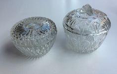 lasiset sokeriastiat . glass sugar pots diameter 10 & 11 cm
