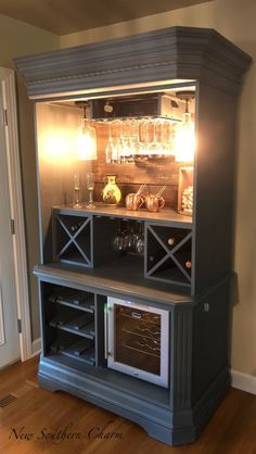 Armoire Bar Cabinet, Coffee Station, Wine Cabinet, Rustic Bar, Repurposed Armiore Cabinet - Upcycled Home Decor Armoire Bar, Kitchen Armoire, Armoire Makeover, Furniture Makeover, Armoire Redo, Refurbished Furniture, Repurposed Furniture, Repurposed China Cabinet, Rustic Furniture