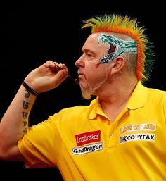 Ladbrokes.com World Darts Championship. Peter Wright's hair hits the bullseye! #Dragon #Mohawk
