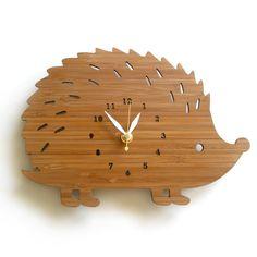 Hedgehog Bamboo Wall Clock