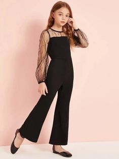 Girls Mesh Yoke Flare Leg Jumpsuit Women Clothes For Cheap, Collections, Styles Perfectly Fit You, Never Miss It! Kids Outfits Girls, Cute Outfits For Kids, Little Girl Dresses, Cute Casual Outfits, Pretty Outfits, Girl Outfits, Girls Dresses, Girls Fashion Clothes, Tween Fashion