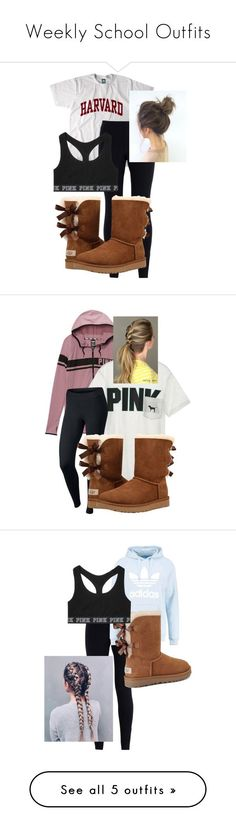 """""""Weekly School Outfits"""" by chloefaust ❤ liked on Polyvore featuring NIKE, UGG, Victoria's Secret, adidas Originals, Hollister Co. and Dorothy Perkins"""