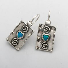 Amazing Opal 925 Silver Earrings With Blue Stone
