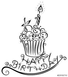 birthday cupcake coloring pages Happy Birthday 手書き, Happy Birthday Chalkboard, Happy Birthday Doodles, Happy Birthday Drawings, Happy Birthday Greetings, Happy Birthday Letters, Happy Birthday Tattoo, Happy Birthday Calligraphy, Watercolor Birthday Cards
