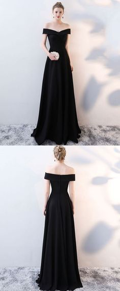 Simple black v neck long prom dress, black evening dress M1651