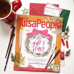 : @prairielettershop It's a pretty awesome thing to see #brushandpenworkshop on the cover of @tulsapeople, celebrating the gift of craft this season alongside some incredible local makers. @brittanyviklund and I are thrilled to share our work and are so thankful to the creative team at Tulsa People for the opportunity! Our last lettering and watercolor workshop for the year is on Dec 8 in Tulsa. Click the link in my bio for more info + registration!  @brushandpenworkshop