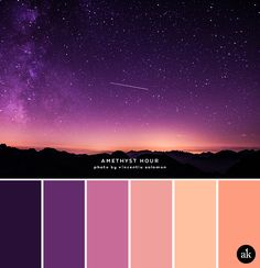 The real contrasting tones here are the black and peach. They really make the palette pop. A sandstone-inspired color palette Colour Pallette, Color Palate, Colour Schemes, Color Combinations, Purple Color Palettes, Sunset Color Palette, Purple Palette, Sunset Colors, Color Trends