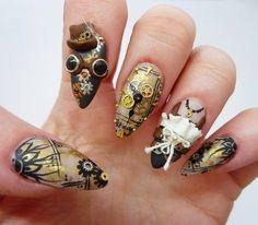 Lara Yih: Impresionante diseño nail art, manicura  Steampunk...