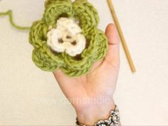 How to crochet flower.     This video is showing how to crochet a 3-layered 6 leaf flower from very beginning until the end.