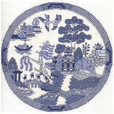 """Heritage Blue Willow Counted Cross-Stitch Kit - Not exactly the pattern I'm looking for, but its the closest I can find. If anyone knows of a source for the original """"Blue Willow"""" pattern please let me know. Diy Embroidery, Cross Stitch Embroidery, Embroidery Patterns, Blackwork Embroidery, Japanese Embroidery, Vintage Embroidery, Cross Stitch Books, Counted Cross Stitch Kits, Cross Stitch Designs"""