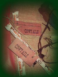 Cowboy birthday party favors {cowtails, twine, bandana scrapbook paper, and downloaded a western font}