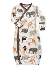 Love this White & Orange Safari Organic Gown - Infant by Wee Urban on #zulily! #zulilyfinds