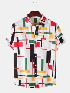 Half Sleeve Shirts, Loose Shirts, Men's Shirts, White Beach Shirt, Beach Shirts, Collar Shirts, Printed Shorts, Types Of Sleeves, Colorful Shirts