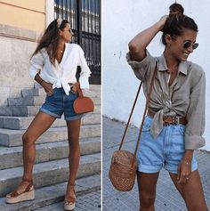 Outfits with Mom Shorts – 28 Ideas on How to Wear Mom Shorts Outfits with mom shorts. The fashion seems to be making a comeback with the mom shorts. These happen to be an all-year-round favorite for the multiple ways that they can be styled. Look Short Jeans, Jean Short Outfits, Look Con Short, Jeans For Short Women, Pants For Women, Italy Outfits, Mom Outfits, Cute Outfits, Shorts Outfits Women