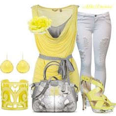 fashion, color combos, style, outfit, white pants, color combinations, jamberri nail, yellow, white jeans