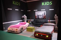 So cute... girl and boy car beds! an awesome shared room <3