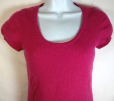 Ann Taylor Cashmere Sweater Extra Small Womens Scoop Neck Cap Sleeve Fuschia