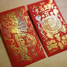 In just a few hours the #RedEnvelopeShow opens at @grumpybert with these envelopes by @bearbrains and many more artists.  #dragons #chinesenewyear #yearofthemonkey #redenvelope # #nian #chinesedragon #goldfoil