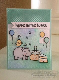 Lawnscaping Challenge: BIRTHDAY CELEBRATION: Lawn Fawn Hippo Birthday To You Card by Audrey Tokach.