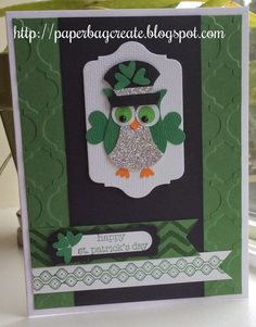 paper bag create: St Patrick's Day....an Irish owl.