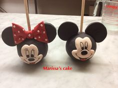 Mickey and Minnie Mouse candy apples.  Visit us Facebook.com/marissa'scake or www.marissa'scake.com