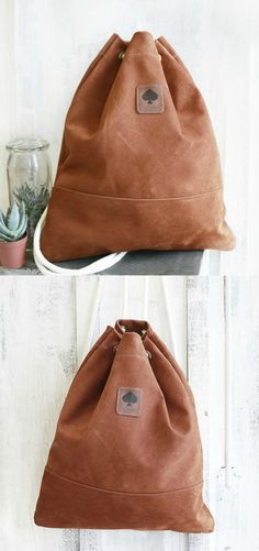58f09d0185f Useful comfortable practical leather gymbag, casual, backpack, brown  leather gymbag with white straps