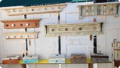 coat racks made from reclaimed wood and vintage door knobs