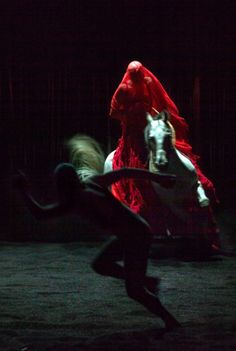 Bartabas on the horse with butoh dancer Ko Murobushi in The Centaur and The Animal, photo by Nabil Boutros.