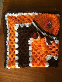 Cleveland Football Crochet Baby Blanket Gift Set Handmade