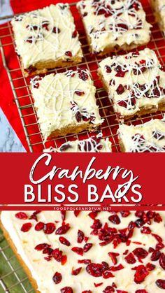 Cranberry Bliss Bars - a Starbucks Copy Cat Recipe! Cranberry Bliss Bars - a Starbucks Copy Cat Recipe! Chewy Blondies Recipe, Chocolate Chip Blondies, Cranberry Bliss Bars Starbucks, Cranberry Bars, Cranberry Recipes, Paleo, Keto, Christmas Desserts, Christmas Baking