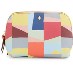 Tory Burch Kerrington Scape Cosmetic Bag ($125) ❤ liked on Polyvore featuring beauty products, beauty accessories, bags & cases, accessories, red canyon, dop kit, makeup purse, wash bag, toiletry kits and travel bag
