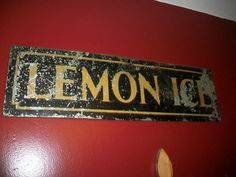 Vintage Lemon Ice Sign 1920s Carnival by RedRiverAntiques on Etsy, $85.00