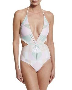 Mara Hoffman Diamond Twist Cutout One-Piece Swimsuit