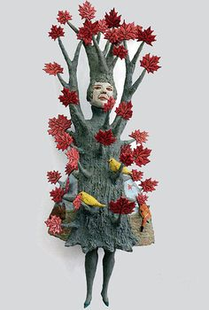 American visual artist   Kathy Ruttenberg and her unique sylvan creatures.  Basically a painter who switched to ceramic,