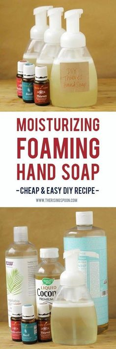 Want to make your own foaming hand soap at home? It's not hard! Try my super easy DIY recipe using a few simple and non-toxic ingredients like liquid castile soap, water, moisturizing liquid carrier oils, and essential oils. This homemade version costs pennies to make a single batch and your hands will thank you!   personal care products   essential oil recipes   homemade gifts   holiday gift ideas  
