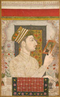 Prince Dara Shikoh holding a painting Mughal Miniature Paintings, Mughal Paintings, Indian Paintings, Dara Shikoh, Mughal Empire, Portrait Art, Portraits, Islamic Art, Indian Art