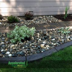 Try adding a stamped pattern to your concrete curb edging. It gives the edging some texture that will mix nicely with rock, mulch and grass.