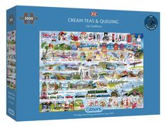 Cream Teas and Queuing Jigsaw 2000 pcFrom Stonehenge to Wife-Carrying, Val Goldfinch has created a marvellous and beautifully illustrated collection of historical landmarks, quirks and idiosyncrasies from our island nation. This Cream Teas and Queuing Jigsaw 2000 pc is a real challenge as the finished jigsaw is double the size of our standard 1000 piece puzzles. High quality 2000-piece jigsaw puzzle Made from thick, durable board that is 100% recycled Puzzle dimensions: 98x68cm B Map Puzzle, Puzzle Board, Best Selling Board Games, Pass The Bomb, 2000 Piece Puzzle, Clear Labels, Cream Tea, Mind The Gap