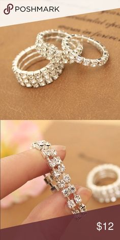 💝Valentine's Day Sale💝 Two Row Crystal Ring Fashion style 2 row crystal elastic ring or toe ring. Jewelry Rings