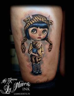 Blythe doll tattoo by Sanna Angervaniva @ La Muerte Ink